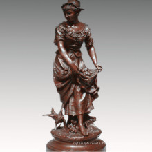Female Collection Bronze Sculpture Farming Woman Decoration Brass Statue TPE-929